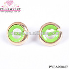 Green resin plating gold jewelry earrings-PYEA900467