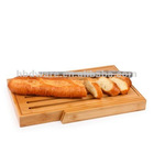 Wooden bread cutting board with knife set