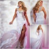 JE0173 Sweeetheart Flower One Shoulder White Evening Satin Long Night Gowns