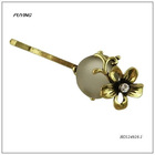 Charm High End White Resin Gold Floral Alloy Hairpin, Lady Head Accessory