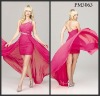 Pink chiffon one shoulder beaded high low prom dresses