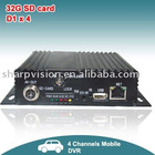H.264 Standalone operating 4-Channel Mobile DVR for Car