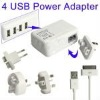 4 USB Power Adapter 4 Easy Travel Interchangeable Plugs