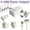 4 USB Power Adapter 4 Easy Travel Interchangeable Plugs