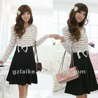 2012 Lady stripe bowknot casual dress