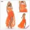 3519-1hs New Design Orange Organza Beadings on bust edge sweetheart Off-shoulder 2012 short front long back prom dress