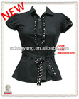 high fashion contrast lace in the front cuff sleeve office blouse ladies