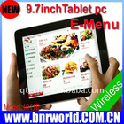 9.7 inch wireless e-menu order system for restaurant