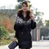 Printing and dip dyed black rabbit fur jacket with fur collar