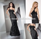 Attractive one-shoulder chiffon ruffled and beaded bustline Designed with crystal jeweled waistband prom dress OLP018