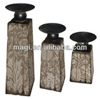 S/3 Rural White Wood Flower Candle Holder