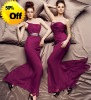 Style RZ-bd034 one shoulder pleated chiffon floor length bridesmaid dress