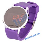 Promotion Electronic Jelly Cute Silicone Red LED Wrist Watch (Purple)