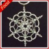 Holiday Beaded Snowflake Ornament - White Pearl,plastic beads and crystal