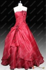 No Risk Shopping Real Sample Organza Ball Gown Flowers Strapless Red Bridal Wedding Dress 2013
