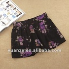 2012 ladies lady women's girls pleated floral printed fashion casual wholesale drop shipping super hot newest design short