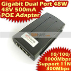 48V 500mA Dual Port 48W Power Over Ethernet Adapter