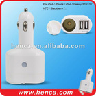 2100mAh usb car charger with twin socket for ipad