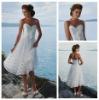 Tea Length White Organza Sweetheart Handmade Flowers Short Casual Beach Wedding Dresses