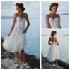 Tea Length White Organza Sweetheart Handmade Flowers Short Casual Beach Wedding Dresses