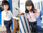 2012 Wholesale Trendy Fall Clothing girls T-shirt kids blouse leafage petalage Cotton garment cut baby girl top
