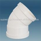 White 45 degree pipe elbow plastic U-PVC pipe fitting 90 degree elbow