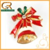 060048-1 Hot beautiful Christmas gift diamante red enamel bow little bell gold tone brooch pin