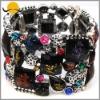 Fancy Acrylic Bead Stone & Alloy Cuff Bracelet