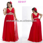 Sexy V Neck Empire Beaded Waist Ruched Bust Flowing Floor Length Chiffon Full Figure Dresses