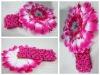 "hot pink 1.5"" crochet headband with daisy flower"