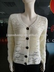 White v-neck a hollow pattern women sweater 2013