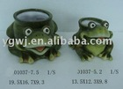 ceramic frog water pot garden frog garden animal decoration