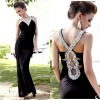 New design most popular crystal Sexy back open evening dress fashion 2012