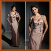Graceful Brown Sweetheart Sash Bow Ruffl Sheath Mother Of The Bride Taffeta Suits