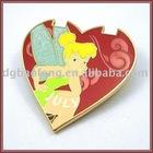 girl's cute heart-shaped pin badge