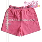 Girls' pink tight fit hot shorts with waistband