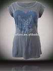 100% Cotton Fabric and Printed Pattern Girls Sexy Short Sleeves Cotton T-shirt