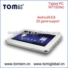 Hot selling 7 inch Android 4.0 boxchip capacitive screen 512M ram tablet pc M77