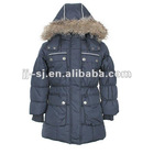 Children winter padded long jackets with undetachable hood