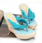 S88B8-13 2011 Summer new Korean casual blue silk Posey Yami slope with the wind straw flip flops