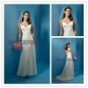 White Satin Spaghetti Strap Appliqued Mermaid Bridal Wedding Dresses