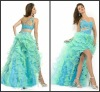 high quality one shoulder beaded sexy short front long back colored prom dress P-ED-278