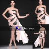 Pink Chiffon Black Lace Embellishment Short Party Formal Dresses Evening Dress