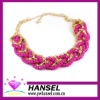 rose pink silver color titanium sports rope necklace