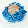 Round 6mm Blue Color Hollow Metal Bead