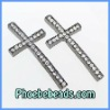 Fashion Cross Sideways Connector Wholesale Pave Clear CZ Rhinestone Charms Beads Curved For Bracelets Making MC-N08