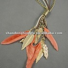 Yellow gold leaf fashion necklace