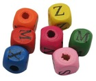 Wood Beads, Lead Free, Square, Dyed, Multicolor, Size: about 8x8x7mm, hole: 2mm(WOOD-H001)