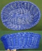 blue color imitated rattan PP bread fruit baskets
