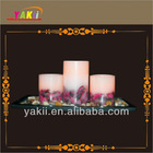 3PCS FLAMELESS WAX LED CANDLE WITH DRY FLOWERS